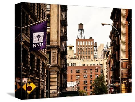 Architecture and Buildings, Greenwich Village, Nyu Flag, Manhattan, New York City, US, Vintage-Philippe Hugonnard-Stretched Canvas Print