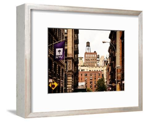 Architecture and Buildings, Greenwich Village, Nyu Flag, Manhattan, New York City, US, Vintage-Philippe Hugonnard-Framed Art Print