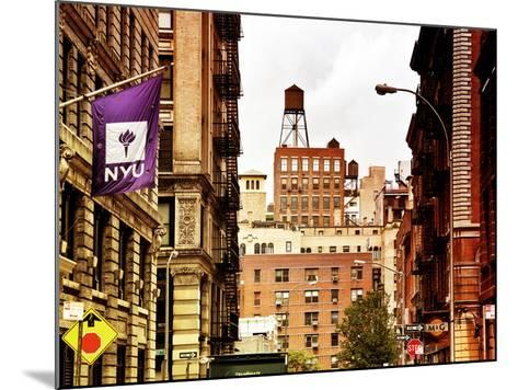 Architecture and Buildings, Greenwich Village, Nyu Flag, Manhattan, New York City, US, Art Colors-Philippe Hugonnard-Mounted Photographic Print