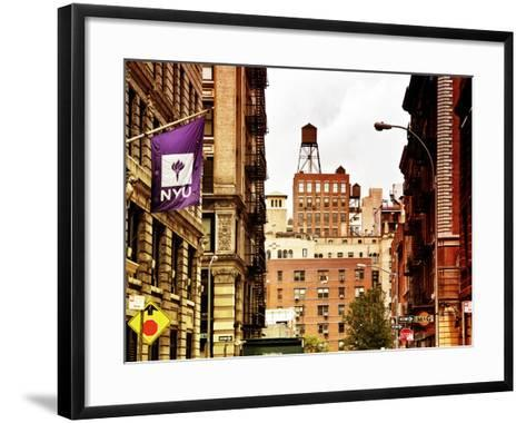 Architecture and Buildings, Greenwich Village, Nyu Flag, Manhattan, New York City, US, Art Colors-Philippe Hugonnard-Framed Art Print