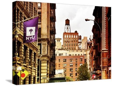 Architecture and Buildings, Greenwich Village, Nyu Flag, Manhattan, New York City, US, Art Colors-Philippe Hugonnard-Stretched Canvas Print