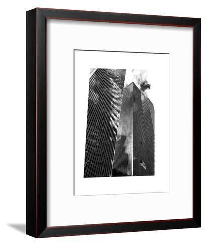 Symetric Perspective Skyscraper in Manhattan, NYC, White Frame, Full Size Photography-Philippe Hugonnard-Framed Art Print