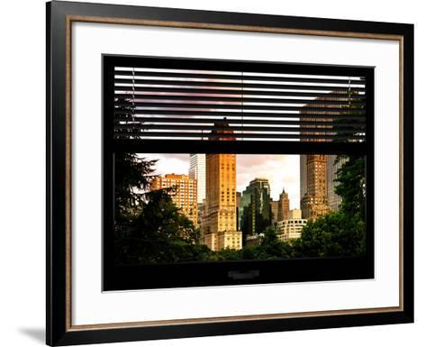 Window View with Venetian Blinds: View of Buildings along Central Park at Sunset-Philippe Hugonnard-Framed Art Print