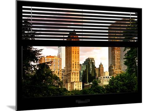 Window View with Venetian Blinds: View of Buildings along Central Park at Sunset-Philippe Hugonnard-Mounted Photographic Print
