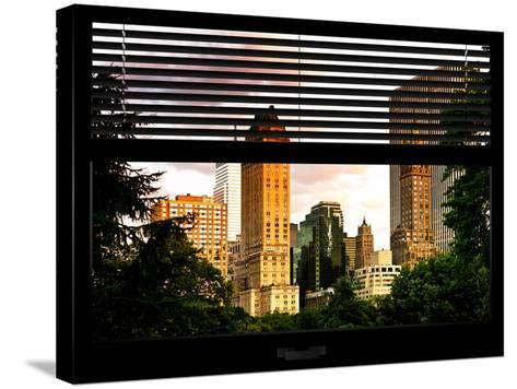 Window View with Venetian Blinds: View of Buildings along Central Park at Sunset-Philippe Hugonnard-Stretched Canvas Print