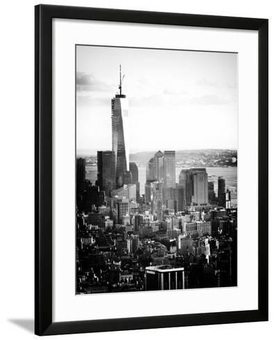 Landscape Sunset View, One World Trade Center, Manhattan, New York Vintage-Philippe Hugonnard-Framed Art Print