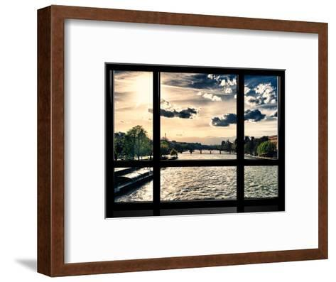 Window View, Special Series, Landscape View on Seine River and Eiffel Tower, Paris, France, Europe-Philippe Hugonnard-Framed Art Print
