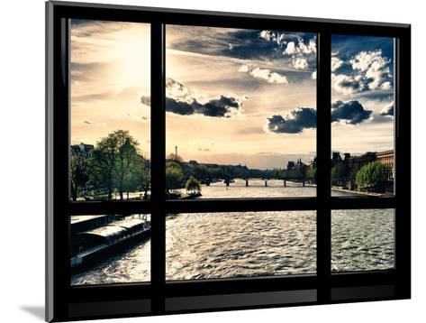 Window View, Special Series, Landscape View on Seine River and Eiffel Tower, Paris, France, Europe-Philippe Hugonnard-Mounted Photographic Print
