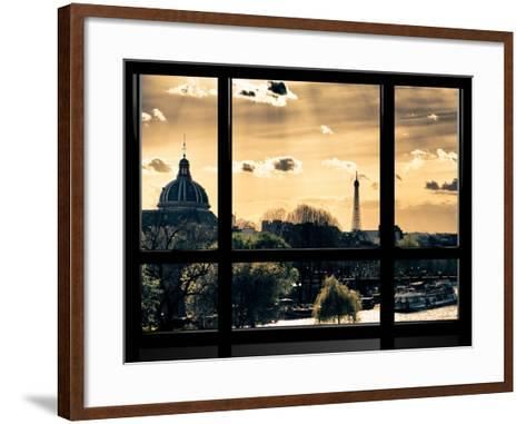 Window View, Special Series, the Eiffel Tower and Seine River View at Sunset, Paris, Europe-Philippe Hugonnard-Framed Art Print