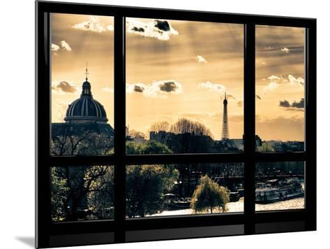 Window View, Special Series, the Eiffel Tower and Seine River View at Sunset, Paris, Europe-Philippe Hugonnard-Mounted Photographic Print