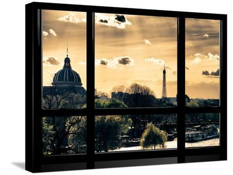 Window View, Special Series, the Eiffel Tower and Seine River View at Sunset, Paris, Europe-Philippe Hugonnard-Stretched Canvas Print