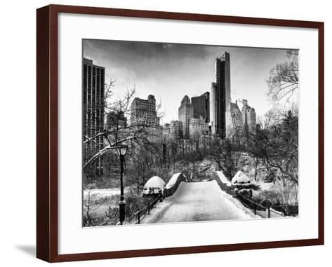 Snowy Gapstow Bridge of Central Park, Manhattan in New York City-Philippe Hugonnard-Framed Art Print