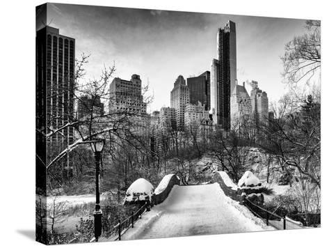 Snowy Gapstow Bridge of Central Park, Manhattan in New York City-Philippe Hugonnard-Stretched Canvas Print