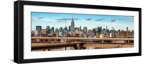 Panoramic Cityscape - View of Brooklyn Bridge with the Empire State Buildings-Philippe Hugonnard-Framed Art Print