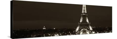 Panoramic Cityscape Paris with Eiffel Tower at Night - Sepia - Tone Photography-Philippe Hugonnard-Stretched Canvas Print