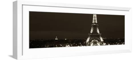 Panoramic Cityscape Paris with Eiffel Tower at Night - Sepia - Tone Photography-Philippe Hugonnard-Framed Art Print