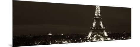 Panoramic Cityscape Paris with Eiffel Tower at Night - Sepia - Tone Photography-Philippe Hugonnard-Mounted Photographic Print