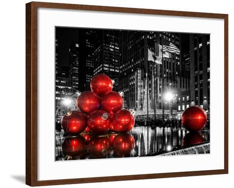 The Giant Christmas Ornaments on Sixth Avenue across from the Radio City Music Hall by Night-Philippe Hugonnard-Framed Art Print
