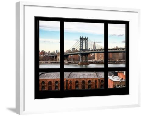 Manhattan Bridge with the Empire State Building - New York, USA-Philippe Hugonnard-Framed Art Print