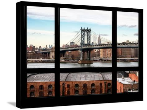 Manhattan Bridge with the Empire State Building - New York, USA-Philippe Hugonnard-Stretched Canvas Print