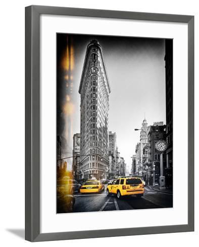 Vintage Black and White Series - Flatiron Building and Yellow Cabs - Manhattan, New York, USA-Philippe Hugonnard-Framed Art Print