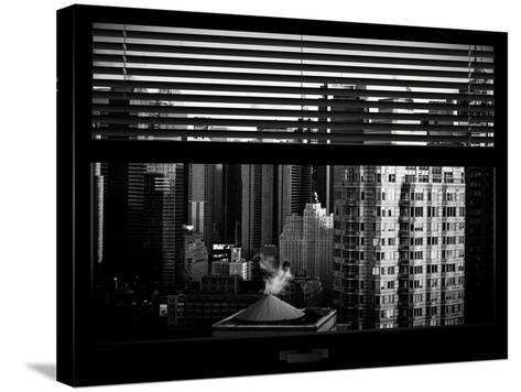 Window View with Venetian Blinds: Skyline of Times Square-Philippe Hugonnard-Stretched Canvas Print