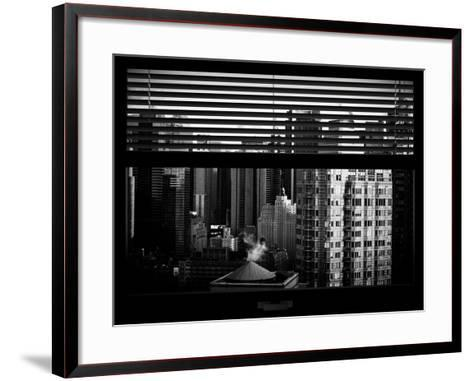 Window View with Venetian Blinds: Skyline of Times Square-Philippe Hugonnard-Framed Art Print