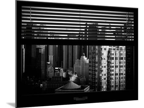 Window View with Venetian Blinds: Skyline of Times Square-Philippe Hugonnard-Mounted Photographic Print