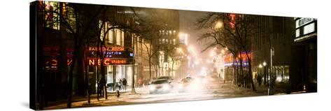 Street Scenes and Urban Night Panoramic Landscape in Winter under the Snow-Philippe Hugonnard-Stretched Canvas Print