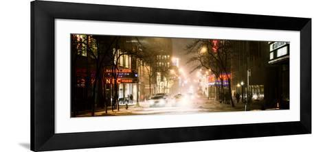 Street Scenes and Urban Night Panoramic Landscape in Winter under the Snow-Philippe Hugonnard-Framed Art Print