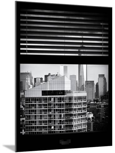 Window View with Venetian Blinds: Cityscape Manhattan with One World Trade Center (1 WTC)-Philippe Hugonnard-Mounted Photographic Print