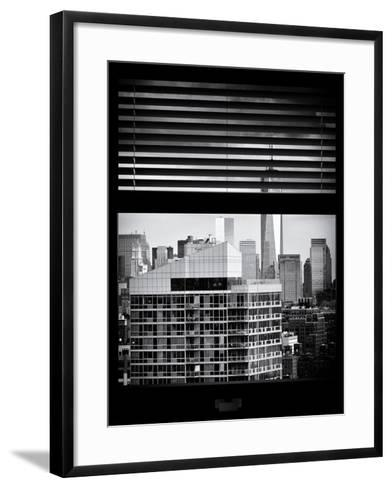 Window View with Venetian Blinds: Cityscape Manhattan with One World Trade Center (1 WTC)-Philippe Hugonnard-Framed Art Print