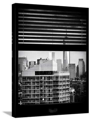 Window View with Venetian Blinds: Cityscape Manhattan with One World Trade Center (1 WTC)-Philippe Hugonnard-Stretched Canvas Print