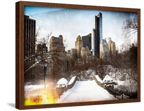 Instants of NY Series - Snowy Gapstow Bridge of Central Park, Manhattan in New York City-Philippe Hugonnard-Framed Art Print
