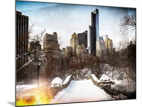 Instants of NY Series - Snowy Gapstow Bridge of Central Park, Manhattan in New York City-Philippe Hugonnard-Mounted Photographic Print