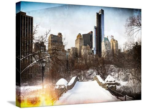Instants of NY Series - Snowy Gapstow Bridge of Central Park, Manhattan in New York City-Philippe Hugonnard-Stretched Canvas Print