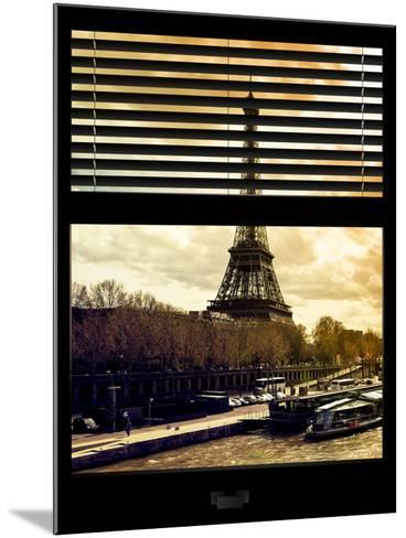 Window View with Venetian Blinds: the Eiffel Tower and Seine River Views at Sunset - Paris, France-Philippe Hugonnard-Mounted Photographic Print