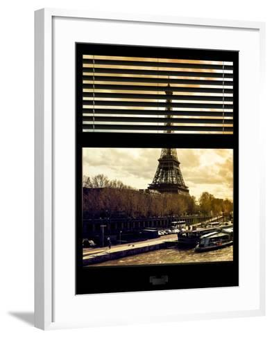 Window View with Venetian Blinds: the Eiffel Tower and Seine River Views at Sunset - Paris, France-Philippe Hugonnard-Framed Art Print