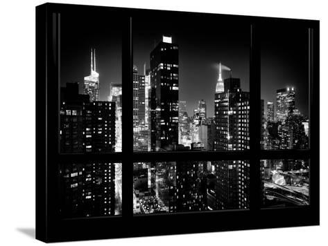 Times Square and 42nd Street with the Empire State Building by Night - Manhattan, New York, USA-Philippe Hugonnard-Stretched Canvas Print