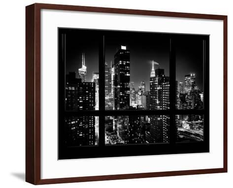 Times Square and 42nd Street with the Empire State Building by Night - Manhattan, New York, USA-Philippe Hugonnard-Framed Art Print