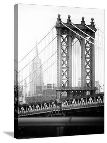 Manhattan Bridge with the Empire State Building from Brooklyn Bridge-Philippe Hugonnard-Stretched Canvas Print