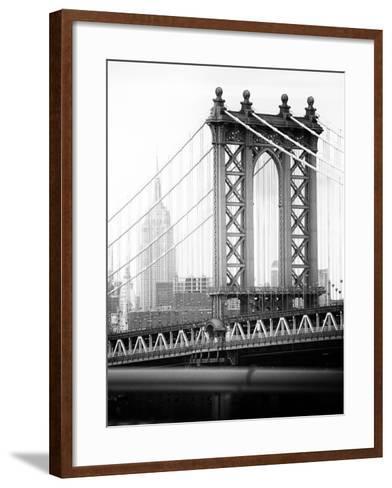 Manhattan Bridge with the Empire State Building from Brooklyn Bridge-Philippe Hugonnard-Framed Art Print