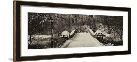 Panoramic View - Snowy Gapstow Bridge of Central Park, Manhattan in New York City-Philippe Hugonnard-Framed Art Print