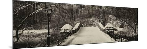 Panoramic View - Snowy Gapstow Bridge of Central Park, Manhattan in New York City-Philippe Hugonnard-Mounted Photographic Print