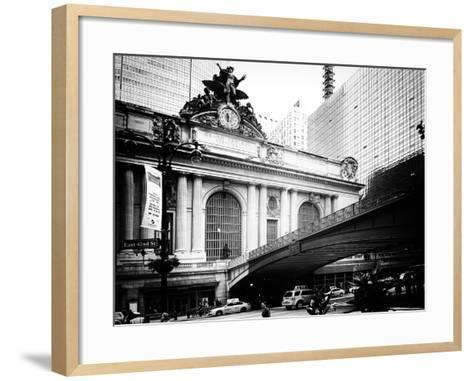 Vintage Black and White Series - Grand Central Station - 42nd Street Sign - Manhattan, New York-Philippe Hugonnard-Framed Art Print