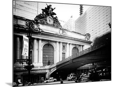 Vintage Black and White Series - Grand Central Station - 42nd Street Sign - Manhattan, New York-Philippe Hugonnard-Mounted Photographic Print