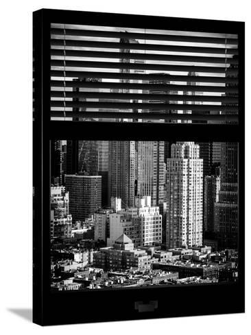 Window View with Venetian Blinds: Theater District and Times Square - Manhattan-Philippe Hugonnard-Stretched Canvas Print