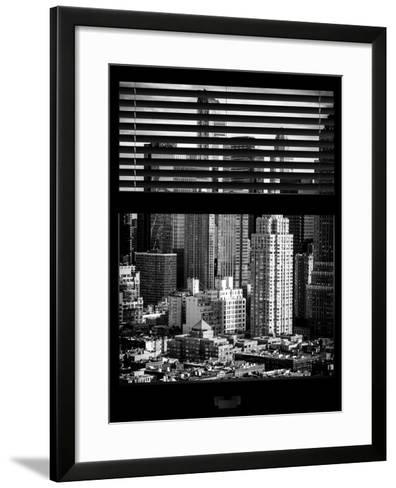 Window View with Venetian Blinds: Theater District and Times Square - Manhattan-Philippe Hugonnard-Framed Art Print