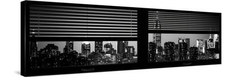 Window View with Venetian Blinds: Manhattan Skyline by Night with the Empire State Building-Philippe Hugonnard-Stretched Canvas Print