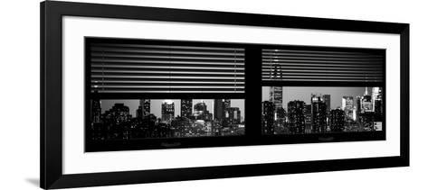 Window View with Venetian Blinds: Manhattan Skyline by Night with the Empire State Building-Philippe Hugonnard-Framed Art Print